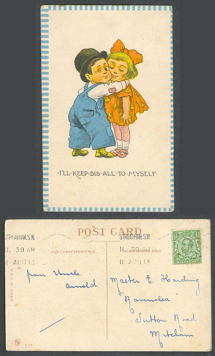 I'll Keep Dis All To Myself, Children Little Boy Girl, Romance 1913 Old Postcard