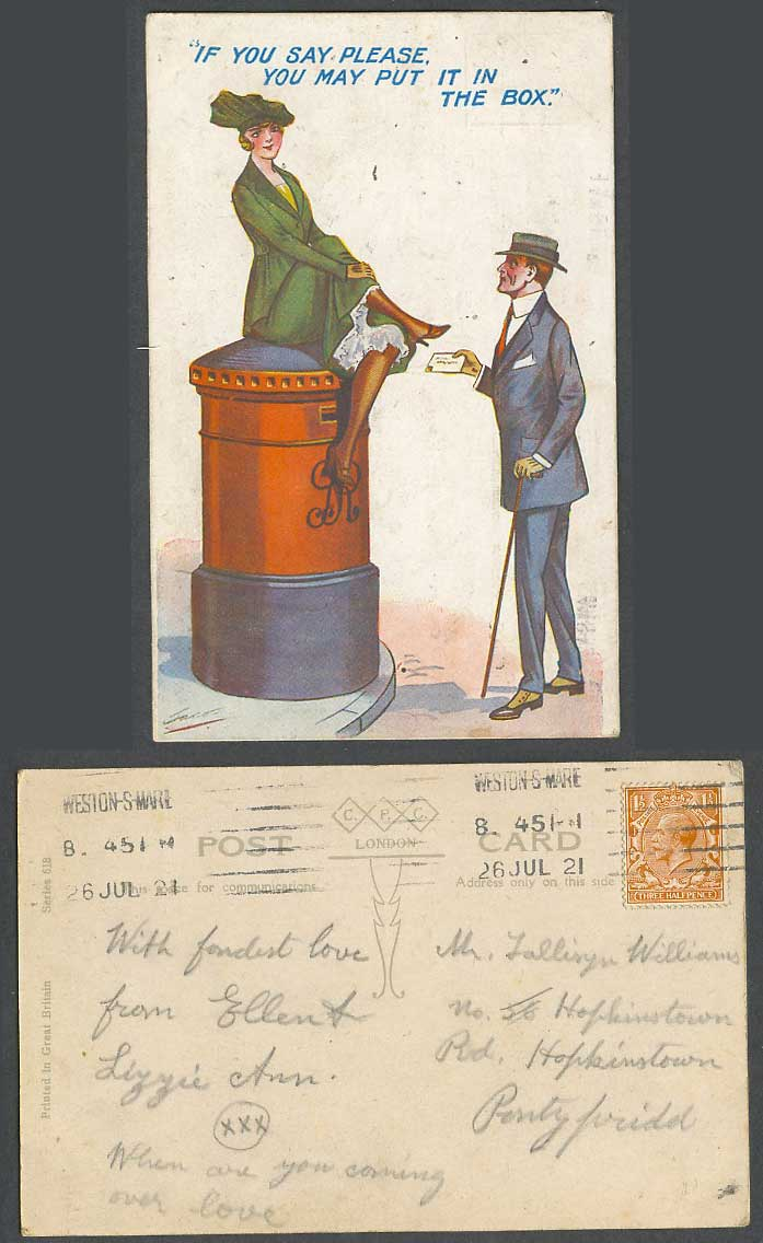 Jaco 1921 Old Postcard Lady Postbox If you say please, you may put it in the box