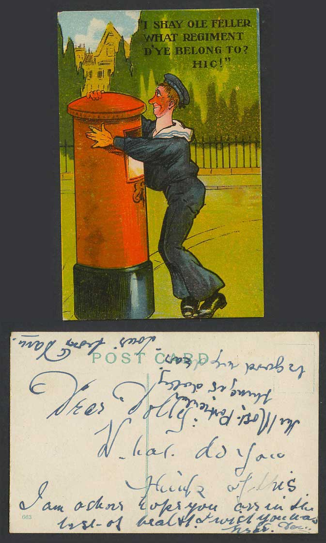 Drunk Marine Postbox I shay ole feller what regiment dy'e belong to Old Postcard