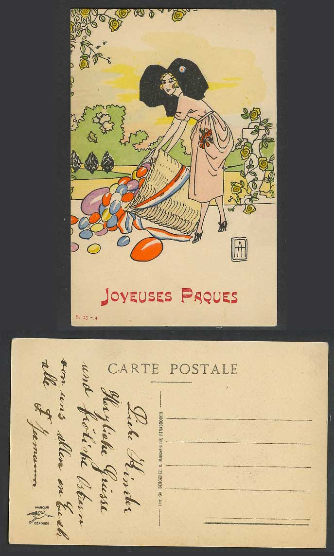 Greetings Happy Easter Joyeuses Paques French Woman Lady Egg Basket Old Postcard