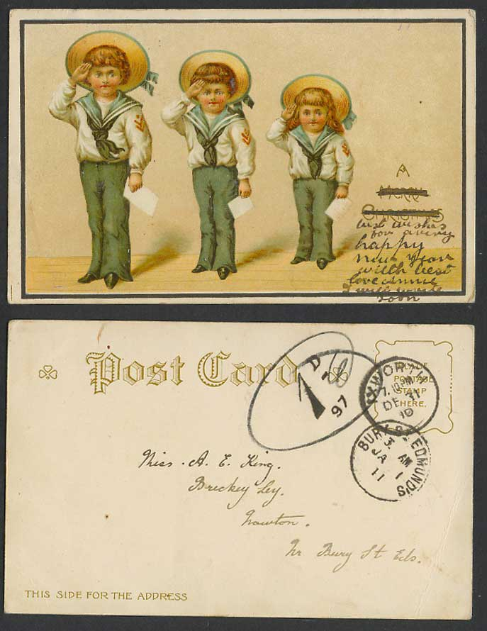 Children Little Boys Girls Sailors Seaman Salute, Postage Dues 1910 Old Postcard