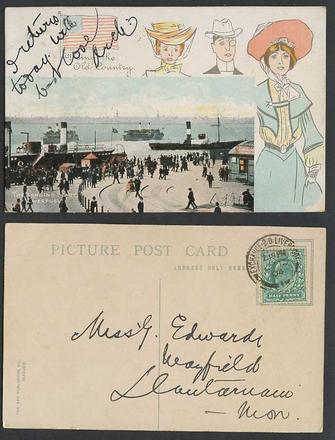 Liverpool Landing Stage 1904 Old Postcard Paddle Steamer USA Flag Glamour Ladies