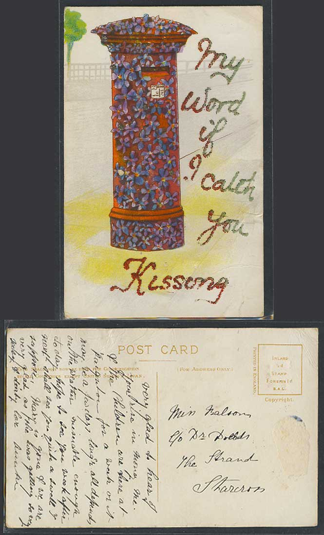 My Word if I catch You Kissing, Postbox, Flowers, Novelty Glitters Old Postcard
