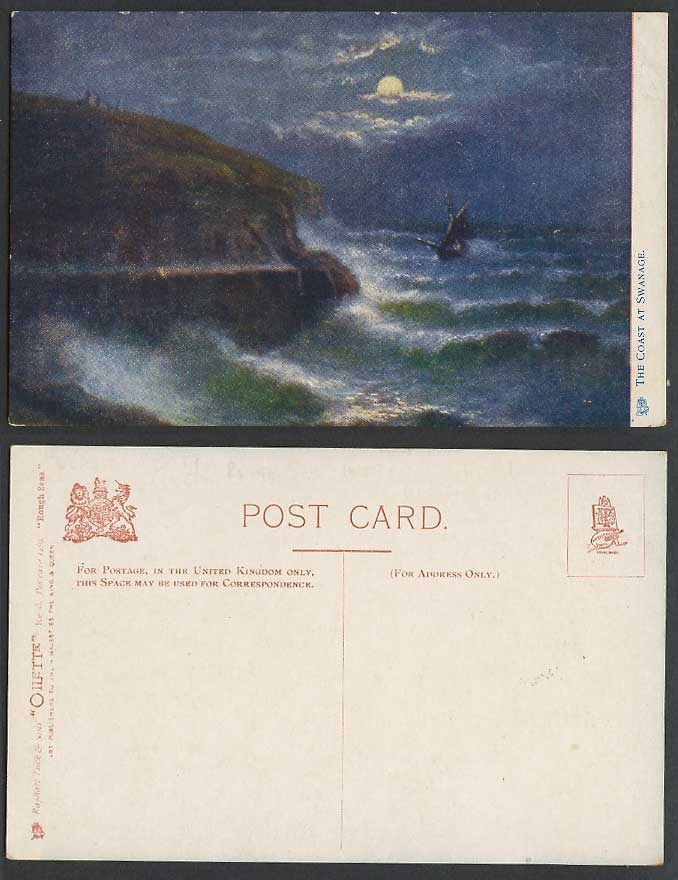 Dorset Swanage Coast Night Moon Moonlight Rough Seas Old Tuck's Oilette Postcard