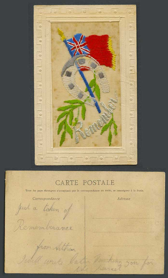 WW1 SILK Embroidered French Old Postcard Remember Flag Horseshoe Horse Shoe Leaf