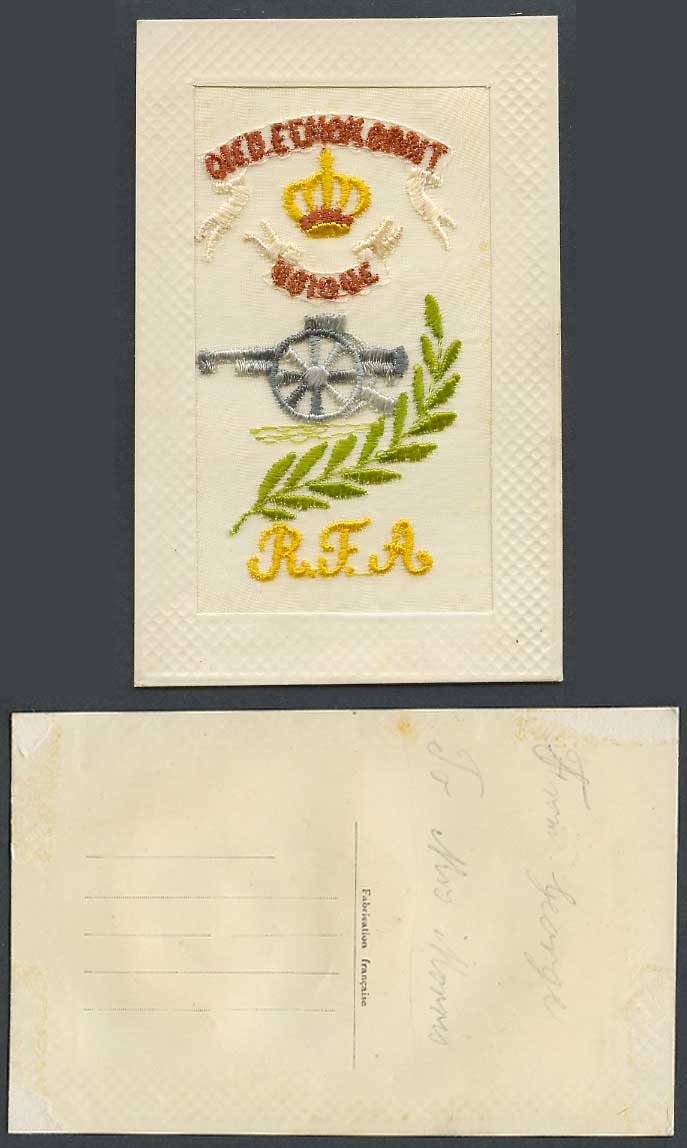 WW1 SILK Embroidered Old Postcard R.F.A. Royal Field Artillery, Cannon Gun, Arms