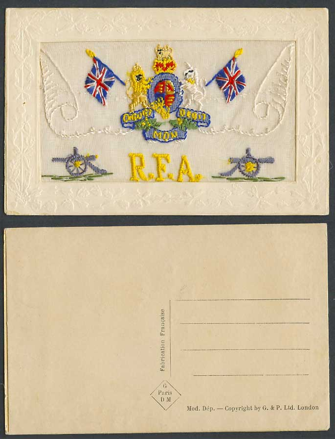 WW1 SILK Embroidered Old Postcard R.F.A. Royal Field Artillery Arms Cannon Flags