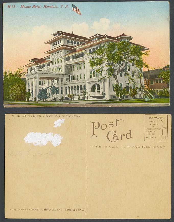 Hawaii Moano Hotel T.H. Honolulu Flag USA Old Colour Postcard Edward H. Mitchell