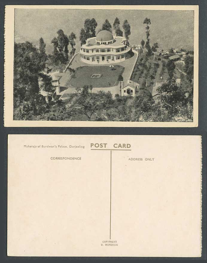 India Old Postcard Maharaja of Burdwan's Palace Darjeeling, Aerial View from Air