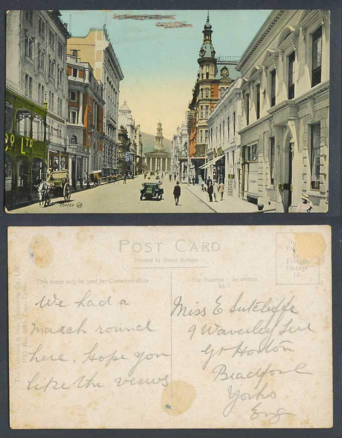 South Africa Cape Town, St. George's Street Scene, Motor Car Old Colour Postcard