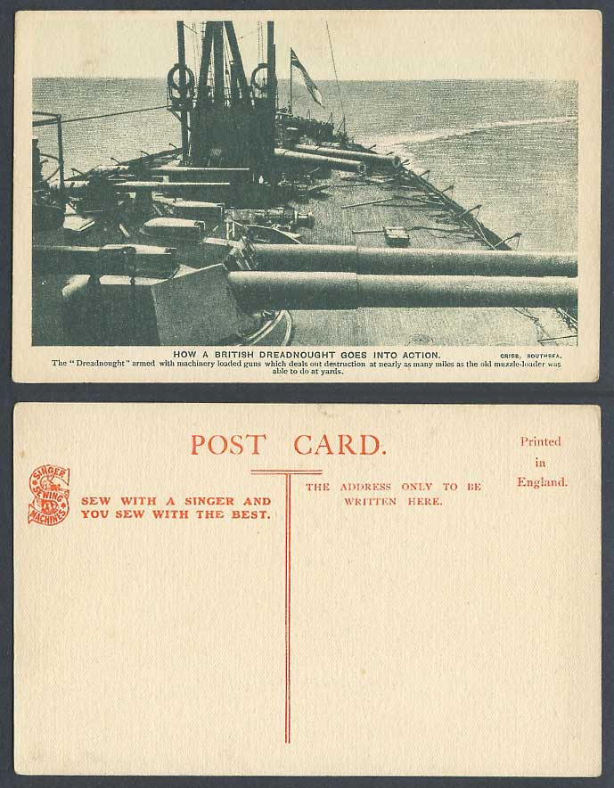 British Dreadnought Goes into Action Warship Singer Sewing Machines Old Postcard