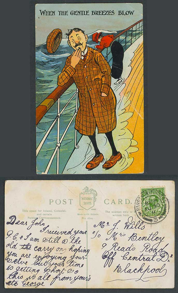 When the Gentle Breezes Blow, Rough Sea Man Woman on Ship Boat 1911 Old Postcard