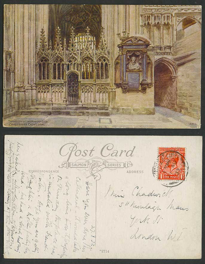 A.R. Quinton 1932  Old Postcard Transept of Martyrdom, Canterbury Cathedral 2714