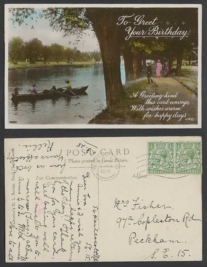 To Greet Your Birthday Greetings Women Rowing Boats River 1928 Old R.P. Postcard