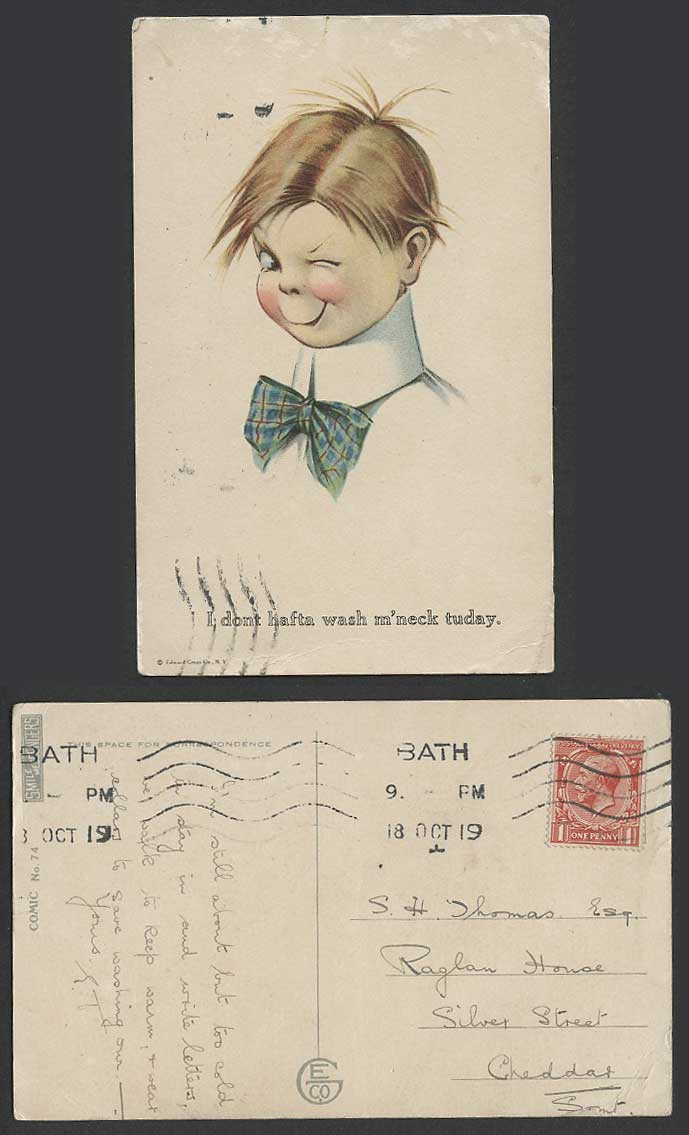 Boy I Don't hafta wash m'neck tuday 1919 Old Postcard  Smile Messengers Comic 74