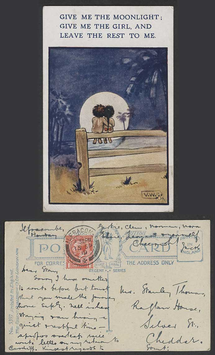V.W.S. Artist Signed 1919 Old Postcard Give Me Moonlight & Girl Leave Rest to Me