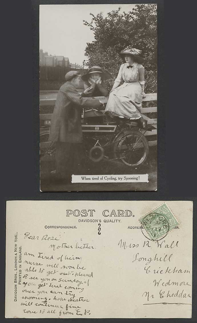 Motorcycle Motorbike When Tired of Cycling Try Spooning Glamor 1911 Old Postcard