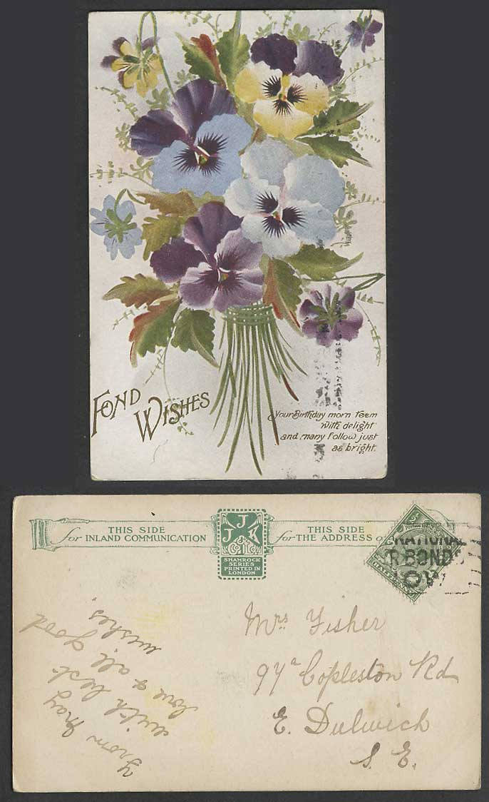 Pansy Pansies Flower Flowers, Fond Wishes Old Postcard Buy National War Bond Now