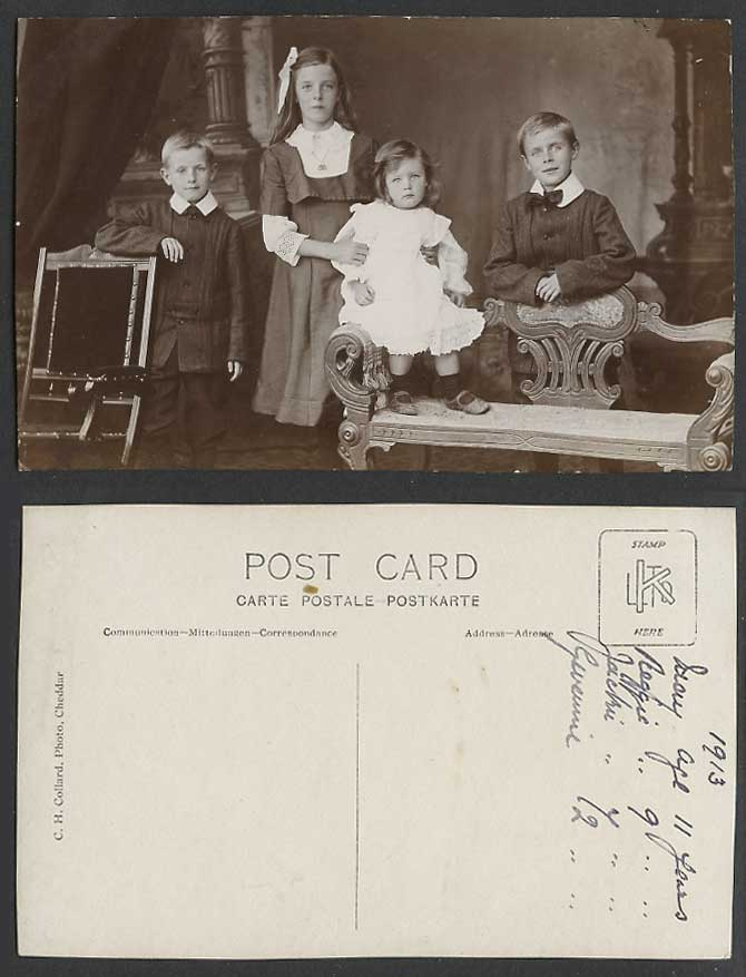 2 Little Boys and 2 Girls, Children, Antique Chairs 1913 Old Real Photo Postcard