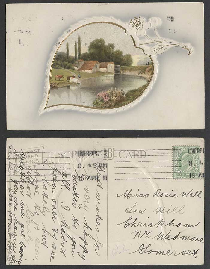 Water Wheel Cottage House Cattle Cow River Flower Artist Drawn 1911 Old Postcard