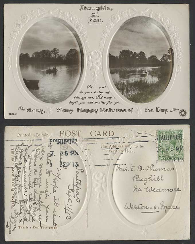 Thoughts of You Many Happy Returns of the Day, Boating Lake 1913 Old RP Postcard