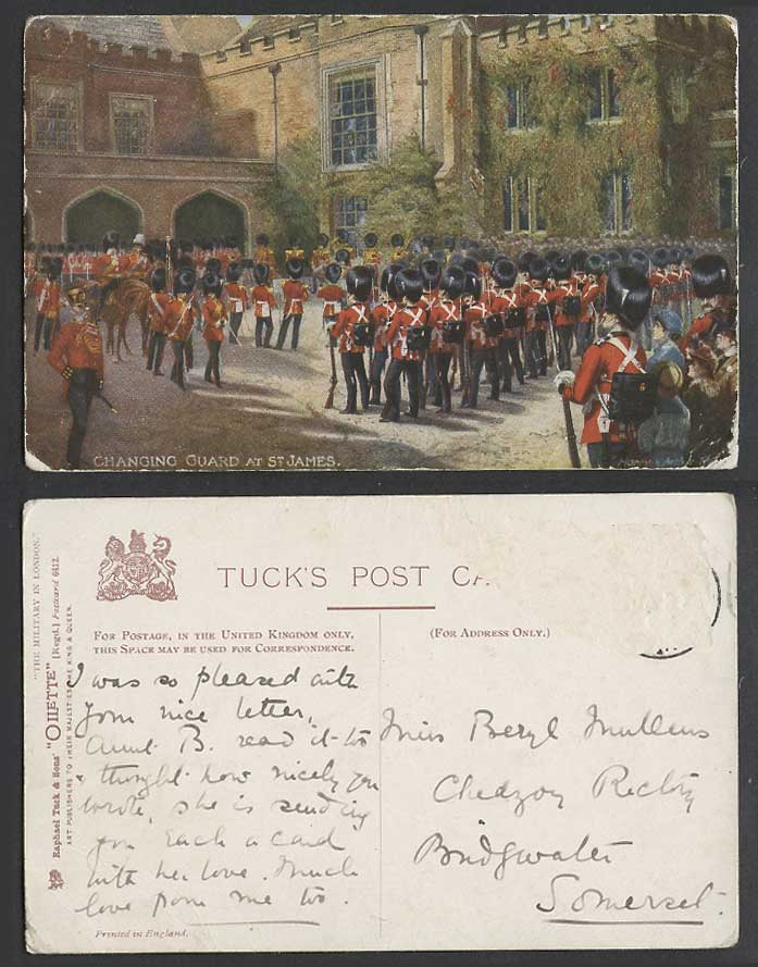 Tuck's Oilette, The Military in London, Changing Guard at St. James Old Postcard