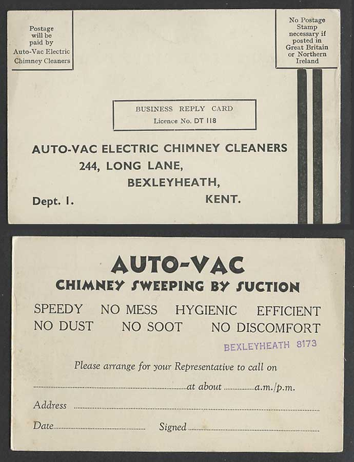 Auto-Vac Electric Chimney Cleaners, Sweeping by Suction, Reply Card, Bexleyheath