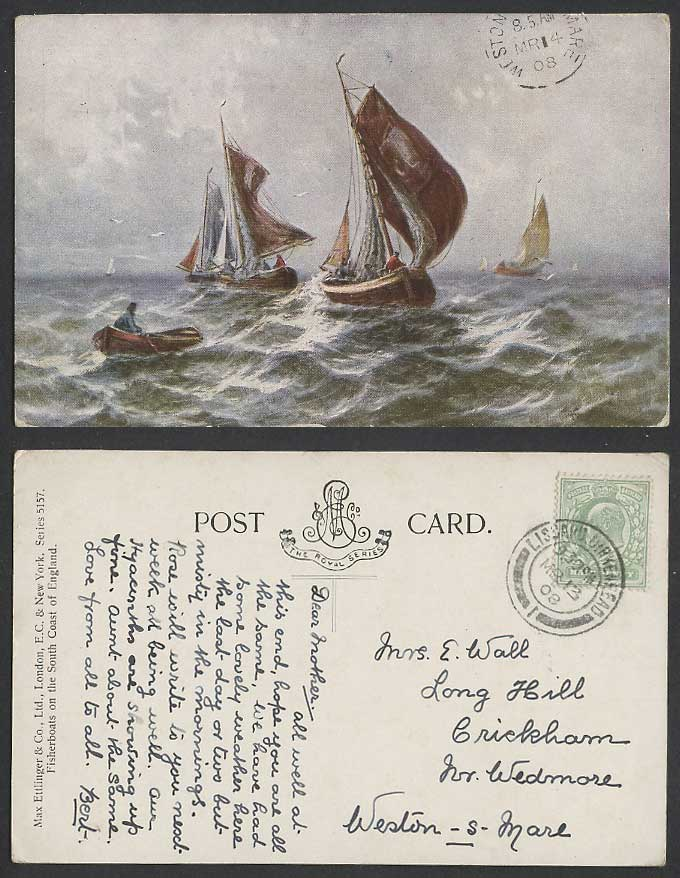 Fisherboats on South Coast of England, Sailing Fishing Boats 1908 Old Postcard