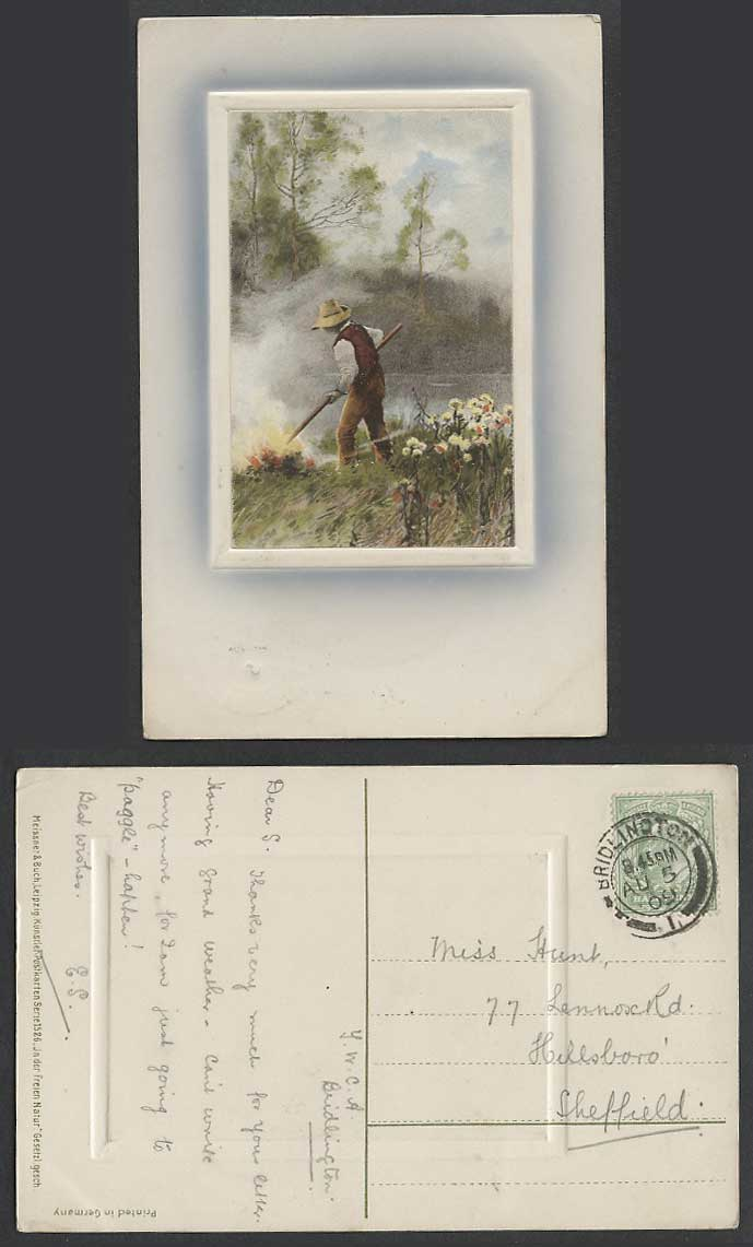 Art Artist Drawn, Farmer Peasant at Work Fire by River Flowers 1909 Old Postcard