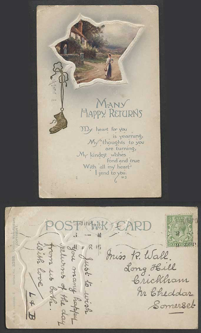 Many Happy Returns Cottage House Road Boot Shoe Hanging 1915 Old Colour Postcard