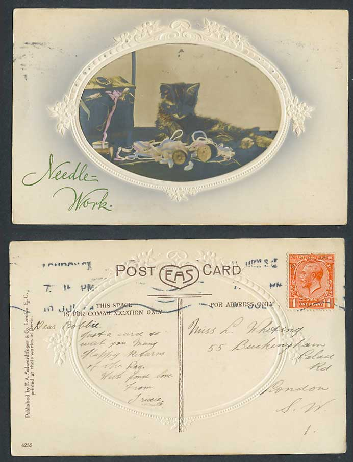 Cat Kitten and Needle Work Pet Animal Old Postcard Hand-Coloured Colour Embossed