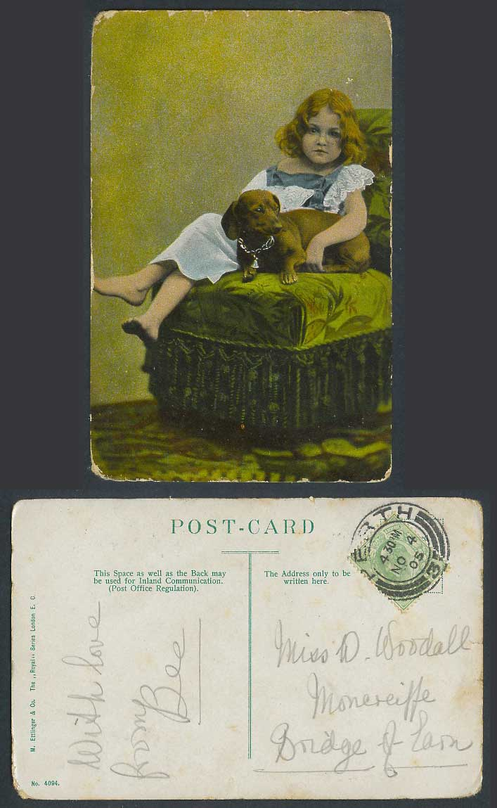Dachshund German Sausage Dog Puppy Pet and Little Girl 1905 Old Colour Postcard