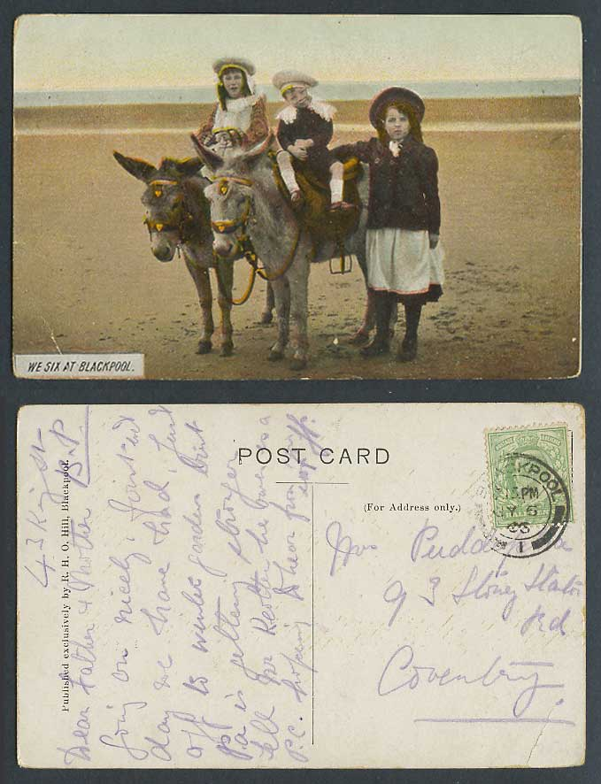 We Six 6 at Blackpool Beach, Donkey Ride Donkeys, Girls 1903 Old Colour Postcard