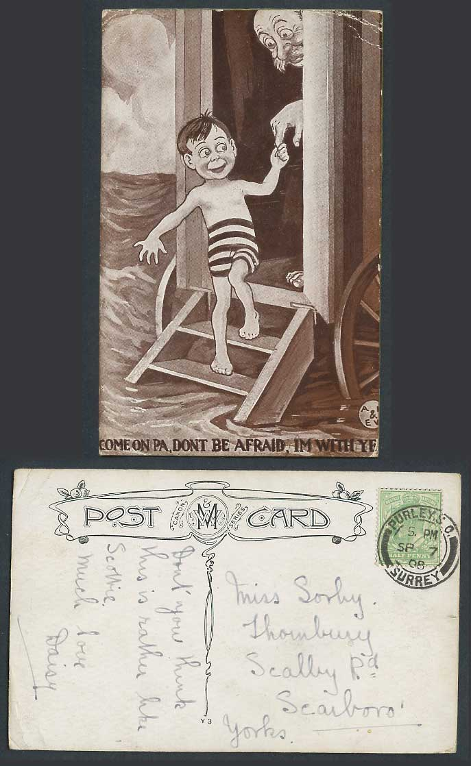 Come on Pa Don't be afraid I'm with ye Boy Bathing Machine Sea 1908 Old Postcard