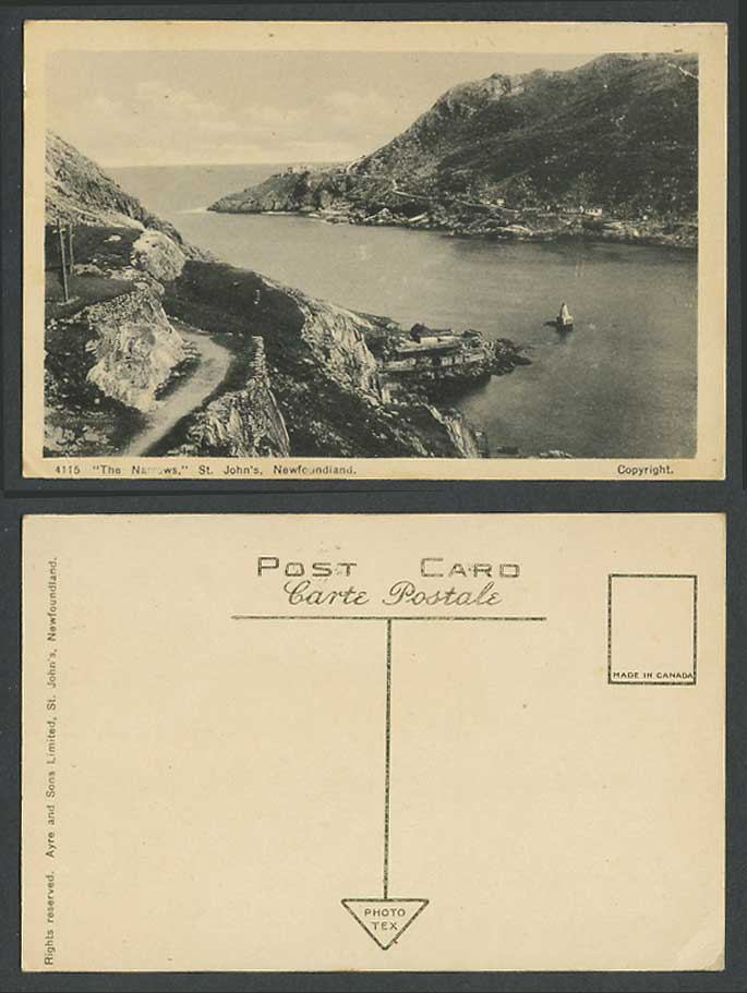 Newfoundland The Narrows St. John's Lighthouse Panorama Canada 4115 Old Postcard