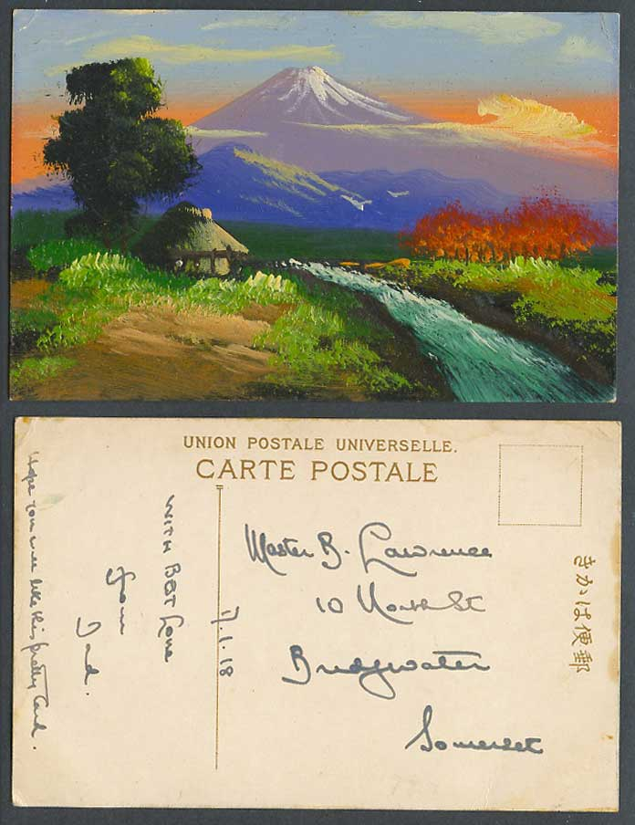 Japan 1918 Old Genuine Hand Painted Postcard Mt. Fuji Mountain, River House Hut