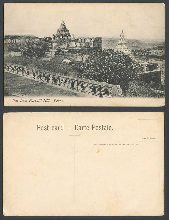 India Old Postcard View from Parvatti Hill Poona Pagoda Temple Towers & Panorama