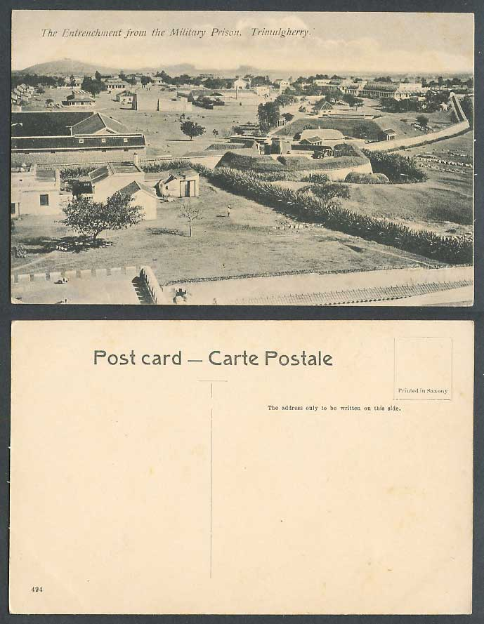 India Old Postcard Panorama & The Entrenchment from MILITARY PRISON Trimulgherry