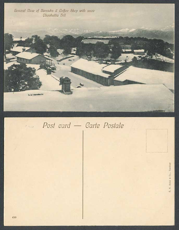 India Old Postcard General View of Barracks Coffee Shop Snow Chaubatia Hill 450