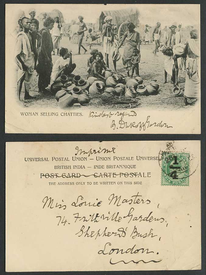 India KE7 1/4 Ovptd on 1/2a 1905 Old Postcard Native Woman Selling Chatties Pots