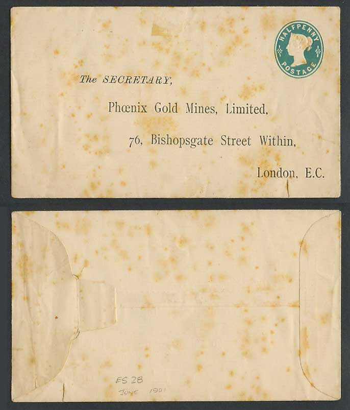 Queen Victoria 1/2d 1901 Postal Stationery Envelope Phoenix Gold Mines Ld London