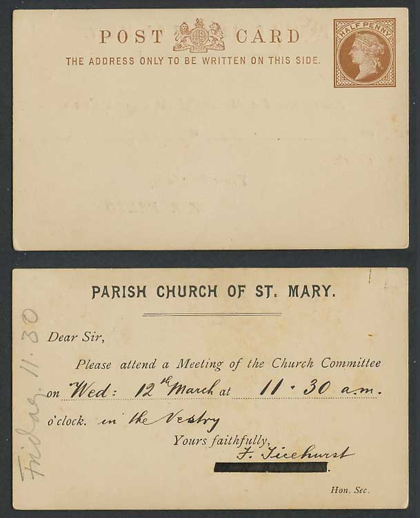 Queen Victoria 1/2d Old Vintage Postal Stationery Card Parish Church of St. Mary