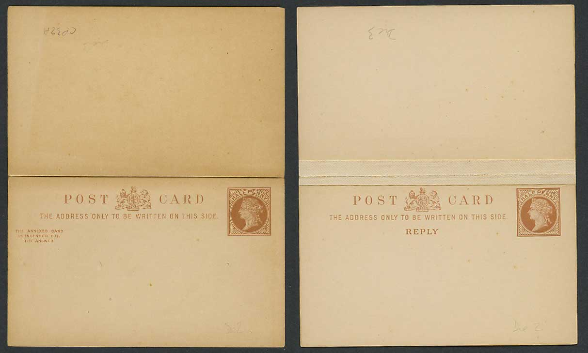 Queen Victoria 1/2d Half Penny Old Vintage Postal Stationery & Reply Card, Die 3