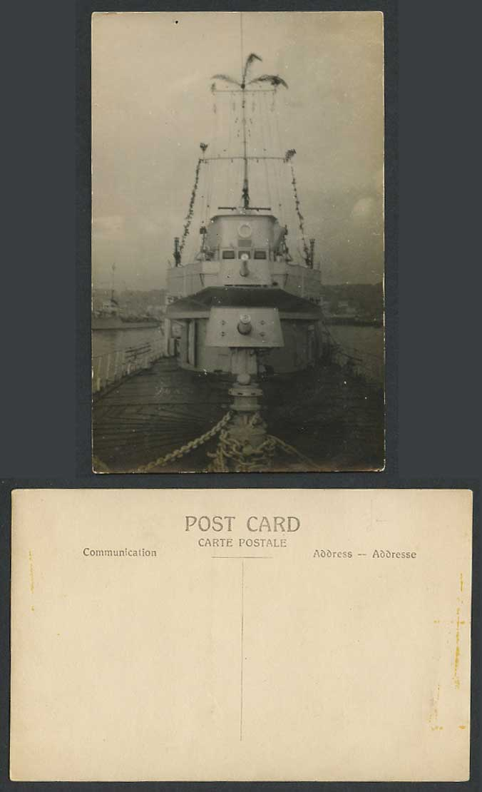 Military Vessel Warship Battleship Ship Palm Tree Harbor Old Real Photo Postcard