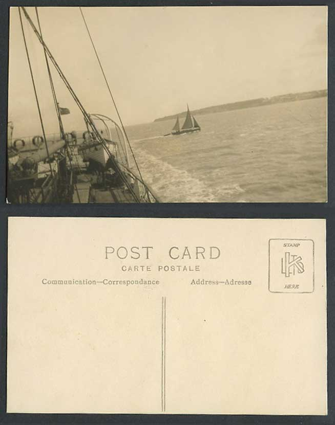 Sailing Boat Vessel seen from Larger Ship with Lifeboat Old Real Photo Postcard
