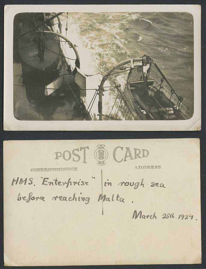 H.M.S. Enterprise, Rough Sea, Before Reaching Malta 1929 Old Real Photo Postcard