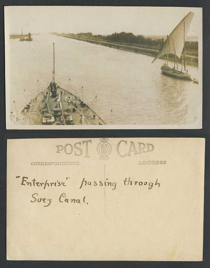 Egypt Old Real Photo Postcard Enterprise passing through Suez Canal Sailing Boat