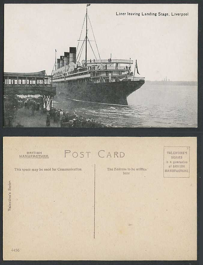 Liverpool, Liner Leaving Landing Stage, Steamer Steam Ship Shipping Old Postcard