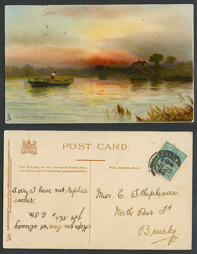 M. Morris Artist Signed The Last Ferry Boat Tuck's Connoisseur 1904 Old Postcard
