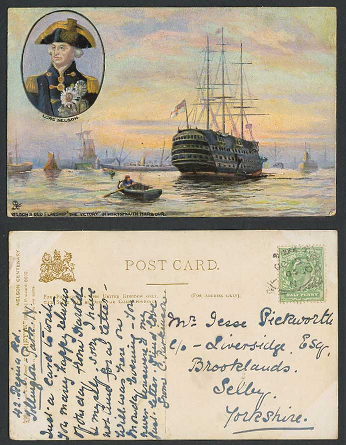 H.M.S Victory SHIP Portsmouth Harbour Lord Nelson's Flagship Old Tuck's Postcard